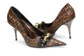 Pair of shiny female shoes isolated on white — Stock Photo