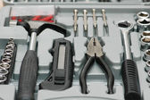 Toolkit with various carpenter tools in the box — Stockfoto