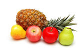 Apples, pears and pineapple isolated on white — Stock Photo