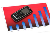 Business concept with mobile phone over the bar chart — Stock Photo