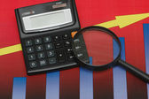 Business results under scrutiny - calculator and charts — Stock Photo