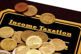 "Book of ""Income Taxation"" and coins isolated on white — Stock Photo"