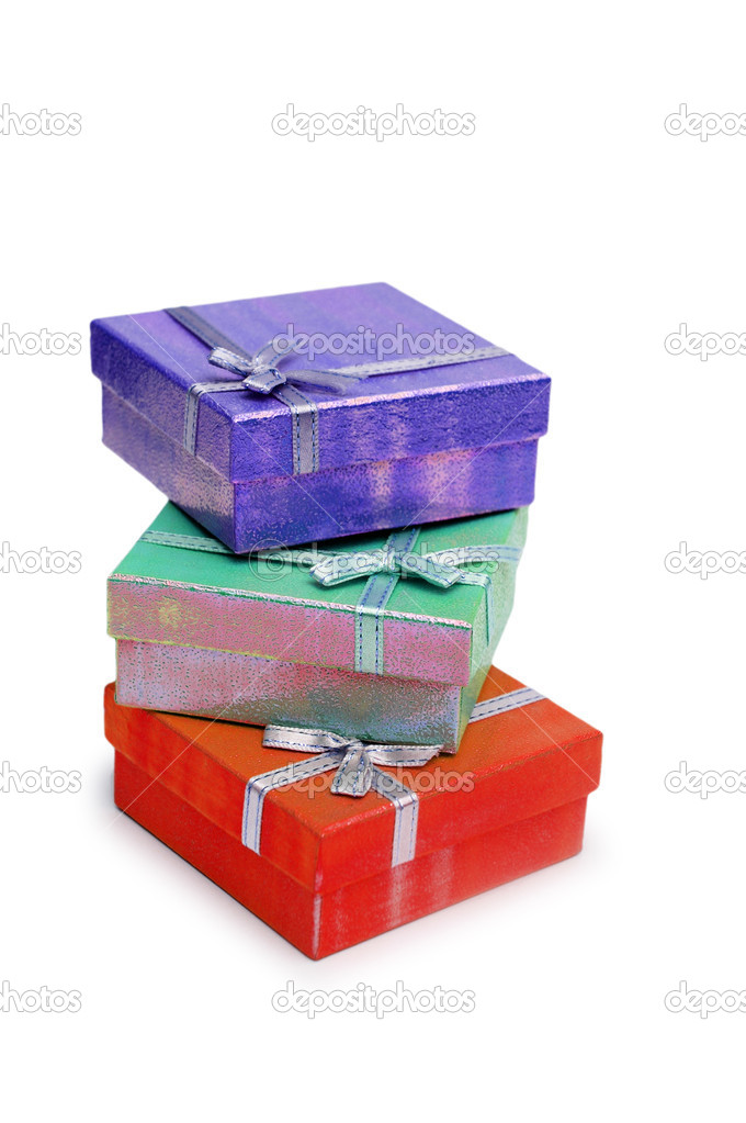 Three gift boxes isolated on the white  background — Stock Photo #4373808