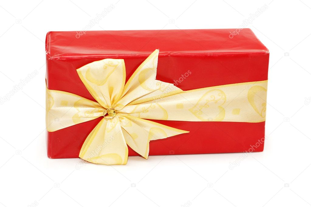Red gift box isolated  on the white — Stock Photo #4376115