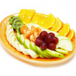 Fruit salad in the plate isolated on the white — Photo