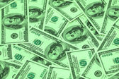 Hundred dollar bank notes arranged as background — Stock Photo