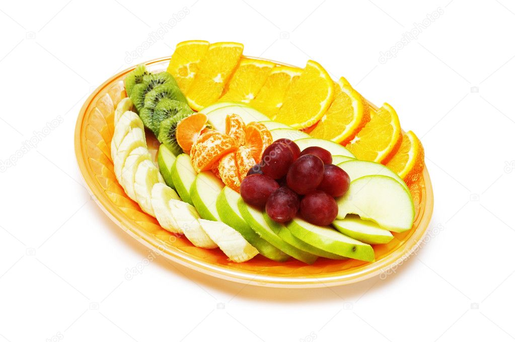 Fruit salad in the plate isolated on the white — Stock Photo #4380636