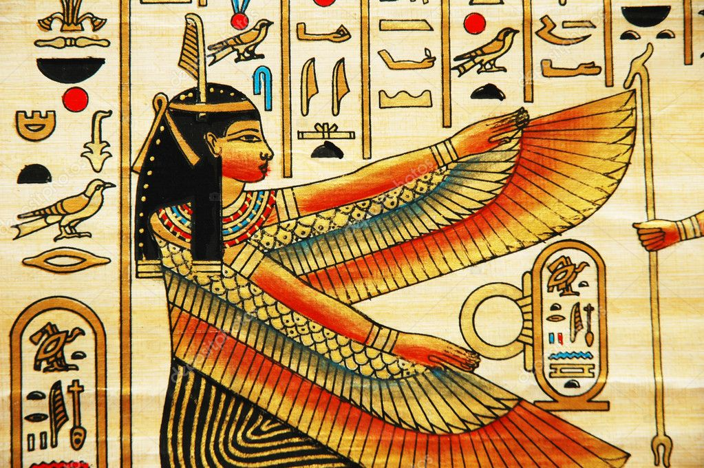 Papyrus with elements of egyptian ancient history  Stockfoto #4380687