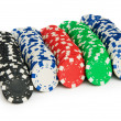 Casino chips isolated on the white background - Stok fotoğraf