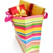 Striped gift bag isolated on the white background — Stock Photo #4413313