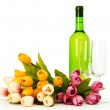Wine and flowers isolated on the white background — Stock Photo