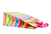 Striped gift bag isolated on the white background — Стоковое фото