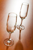 Wine glass on the wooden table — Stock Photo