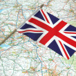 Royalty-Free Stock Photo: Flag of United Kingdom over the map