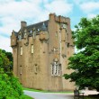 Scottish castle between the trees in summer day — Stock Photo