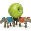 Elephants holding green apple isolated on white — Stock Photo