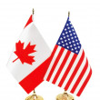 usa and canada flags isolated on white — Stock Photo