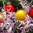 Various christmas decorations on dark background - Stock Photo