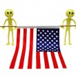 Stock Photo: Two smilies holding US flag