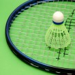 Shuttlecock and racket on green background — Stock Photo #4428996