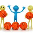 Stock Photo: Smilies with basketballs isolated on white