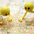 Stock Photo: Two Smilies over map of central London