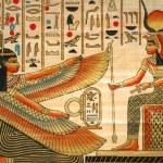 Papiro com elementos da história do antigo Egito — Foto Stock