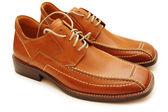 Orange male shoes isolated on the white — Stock Photo
