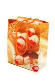 Shopping christmas bag isolated on white — Stock Photo
