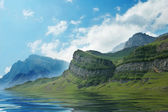 Scenery with mountains, blue sky and lake - Azerbaijan — Stock Photo