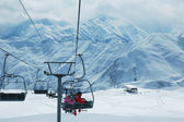 Skiing lift with and mountains — Stock Photo