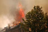 Incendio en el centro de la ciudad — Foto de Stock