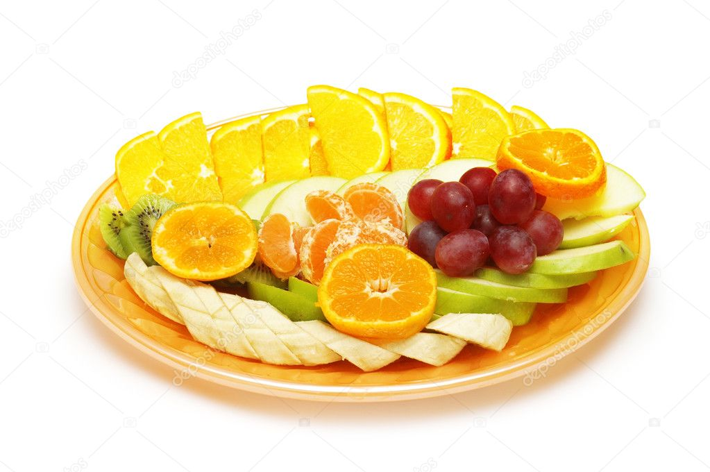 Fruit salad in the plate isolated on the white — Stock Photo #4426282