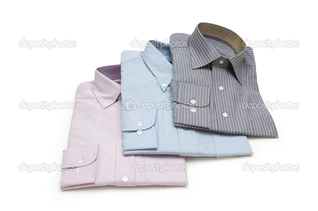 Three packed shirts isolated on white — Stock Photo #4426664