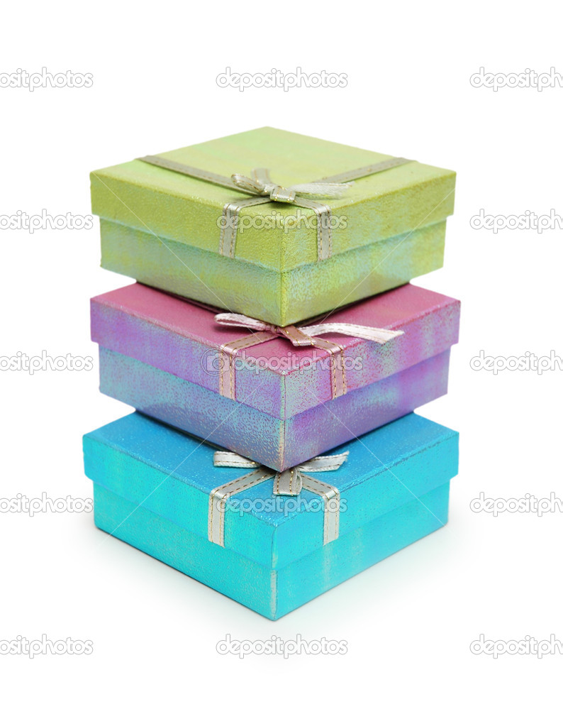 Three gift boxes isolated on the white background — Stock Photo #4428603