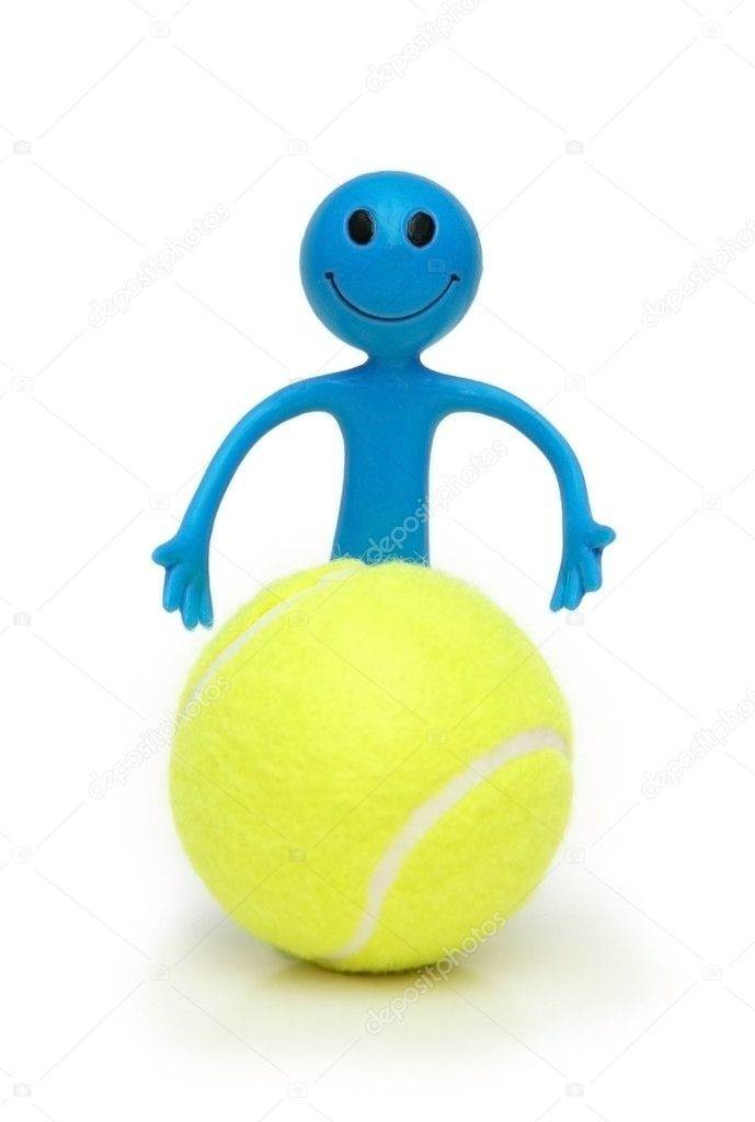 Smilie with tennis ball isolated on white  Stock Photo #4428896