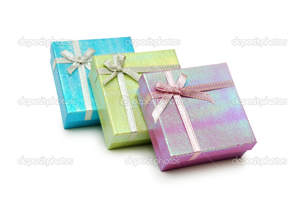 Three gift boxes isolated on white — Stock Photo #4428948