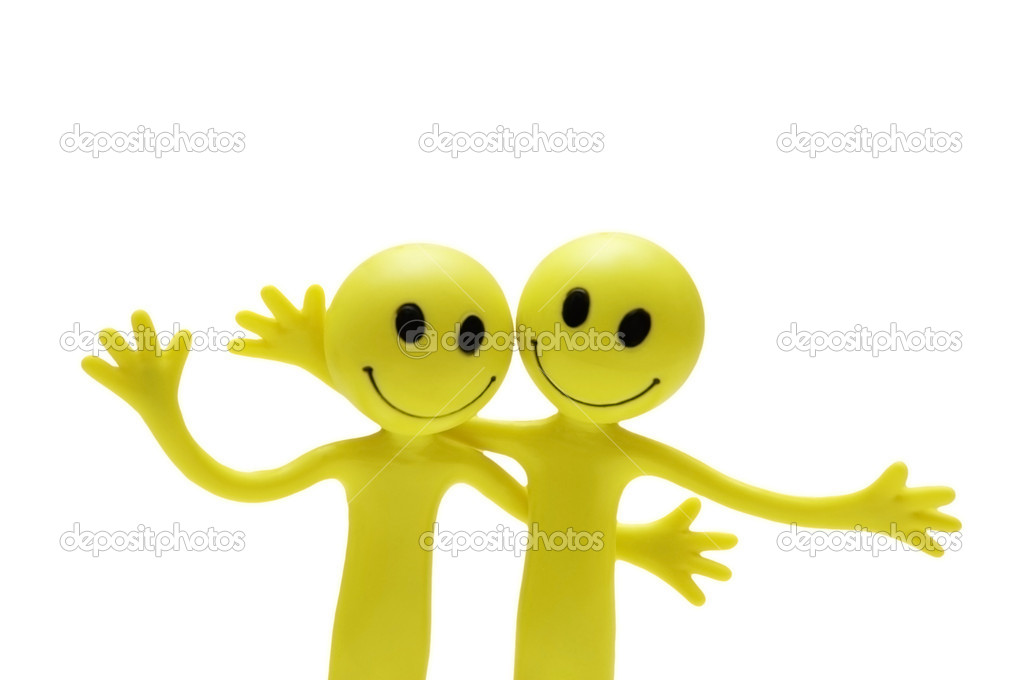 Figures of smilies hugging each other — Stock Photo #4429136