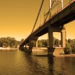 River bridge at sunset - Stock Photo