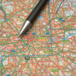 Pen and a map of central London — Stock Photo