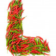 Alphabet with green and red peppers — Stock Photo