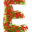 Alphabet with green and red peppers - letter — Stock Photo