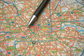Pen and a map of central London — Foto Stock