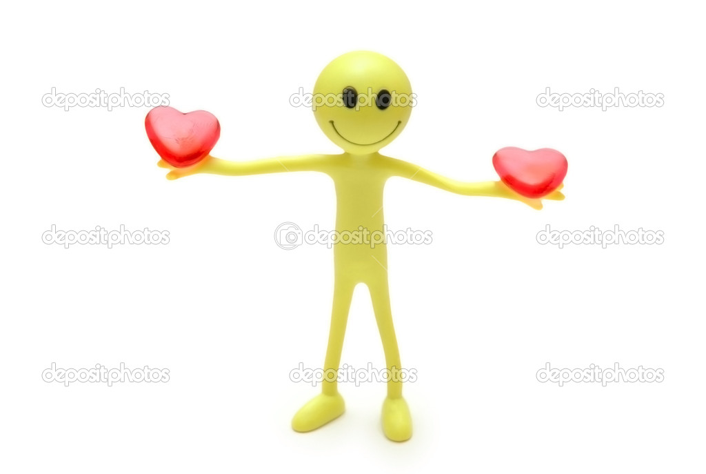 Smiley holding two red hearts in hands — Lizenzfreies Foto #4436868