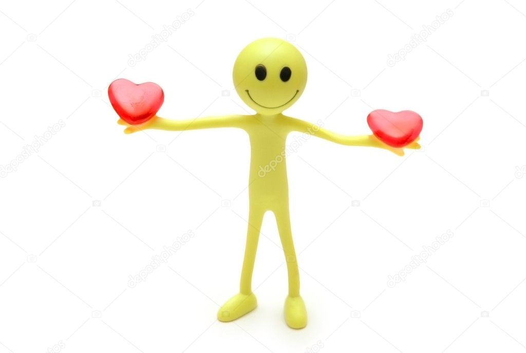 Smiley holding two red hearts in hands — 图库照片 #4436868