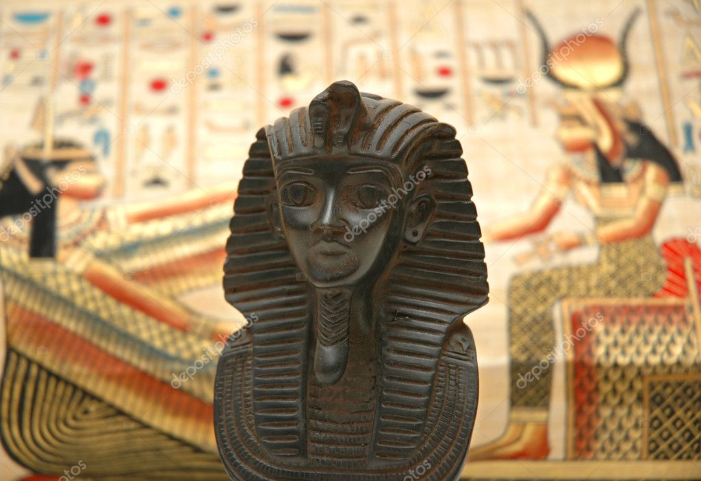 Figure of sphynx and background with elements of egyptian ancient history — Stock Photo #4436961