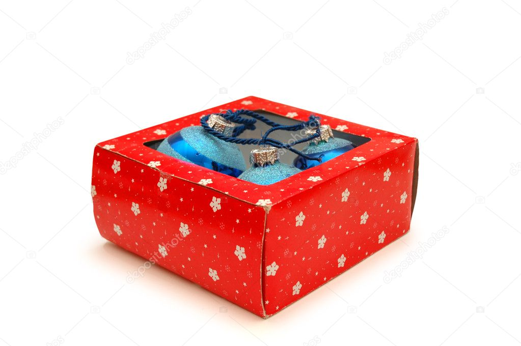 Box with christmas decorations isolated on white — Stock Photo #4437025