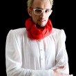 Man with red scarf on the black — Stock Photo