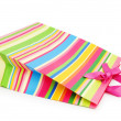 Striped gift bag isolated on the white background — Stock Photo #4441312