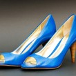 Fashion concept with blue woman shoes on high heels — Stock Photo #4442445